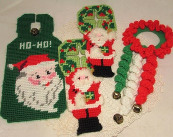 FOUR – Vintage Needlepoint & Crocheted Christmas Door Knob Hangers, Santa Claus, 70s, holiday decoration, Ho Ho, red, white, green