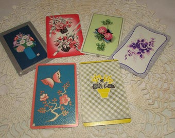 Lot of 6 Vintage Playing Swap Cards, Various Flowers, Trading, Scrapbooking, paper ephemera, clover, bouquet