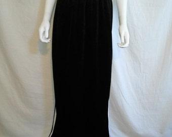 SALE 90s Health Goth Black & White Stripe velvet Athletic long Skirt / 90s clothing