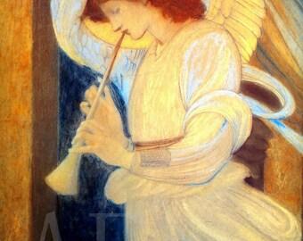 PR-045 Artistic Ephemera Print ~ One 8x10 or Two 5x7s ~ Edward Burne-Jones 'The Angel'