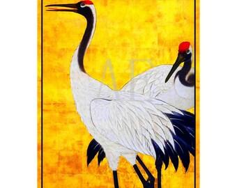PR-193 Artistic Ephemera Print ~ One 8x10 or Two 5x7s ~ Ancient Japanese Art Two White Cranes