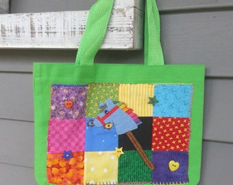 Horse Tote Bag,Pony Tote Bag,Scrap Mini Quilt,Applique Tote Bag,Hobby Horse Tote Bag,Stick Horse,Handmade Tote Bag, Horse,Rainbow Dash,MLP