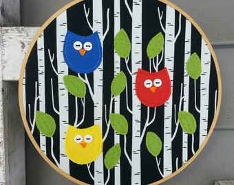 Owl Hoop Art,Embroidery Hoop Art,Owl Art,Owls in Tree Applique,Textile Artwork,Owl, Embroidery Art,Birch Trees, Nursery Art,Handmade Owl Art