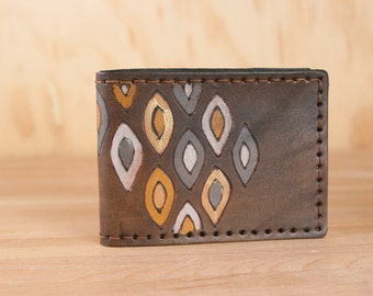 Leather Bifold Wallet - Mens or Womens - Pato Geometric Pattern in gray, white, yellow and antique black  - Handmade Bifold Wallet