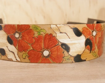 Leather Guitar Strap - Handmade in the Nelly Pattern with Skulls and Roses - Acoustic or Electric Guitar, Bass or Banjo