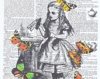 Alice in Wonderland,Butterflies.Antique French Book Page.Altered art,buy 3 get 1 FREE,deco.fantasy.whimsy.birthday.child.mom.nursery.holiday