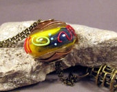 RESERVED for J - Handmade Lampwork Bead Necklace Size Large Hole Brass Lined and Double Capped Bead  - Hot Yellow Grafitti -by Mona Sullivan
