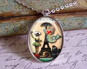 Somewhere Over Paris...altered art pendants, gift boxed ,Marie Antoinette, mermaids, diva,queen, tiara, crown,Eiffel Tower, french inspired