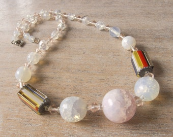 Vintage Antique Classic Czech Art Deco Opalescent Crackled Ice Beads Necklace - Restrung - Perfect Clean Condition