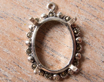 Contemporary Sterling Silver and Natural Marcasite 4 Prong Oval Setting for 16mmx12mm Cabochon