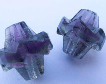 Vintage West German Amethyst & Grey Givre Ruffled Band Biconical Handmade Molded Glass Beads - 14mm - Perfect Earring Pair