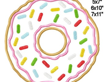 Donut with Sprinkles Sweets Machine Applique Embroidery Design Pattern 4x4 5x7 6x10 7x11 INSTANT DOWNLOAD