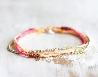 Beaded silk wrap bracelet - prehnite, garnet & glass seed beads, knotted on mustard yellow silk - delicate beaded bracelet