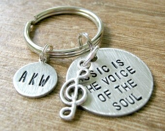 Personalized Music Keychain, Music is the Voice of the Soul with treble clef charm, choose with or without initial disc, musician gift