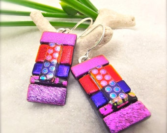Dichroic fused glass jewelry, dichroic earrings, Statement earrings,hana Sakura, Unusual artisan earrings, colorful earrings, fused dichroic