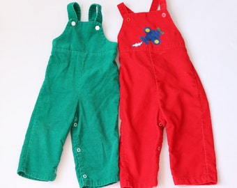 Vintage sears health-tex healthtex 24m overalls 80s eighties 70s seventies style corduroy SET of two red green plane