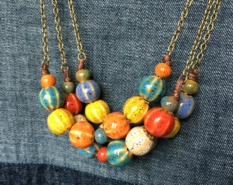 Ceramic Dots & Stripes Beads Antique Brass Chain Necklace - Blue/Yellow/Orange - Red/Brown/Blue - Purple/Yellow/Green