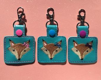 Embroidered Fox Keychain, Keyfob, Foxy Key Fob