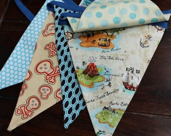 20% OFF Pirate Themed Bunting.  Boy Fabric Party Banner.  Designer's Choice, Ready To Ship.  Photo Prop, Nursery Decoration, Birthdays.