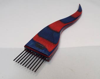 Weaving beater, weaving fork, tapestry fork, threadsthrutime, thomas-creations, coarse, Blue and Red