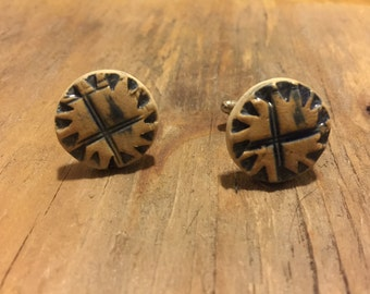 Ceramic Stoneware Cuff Links - Blue