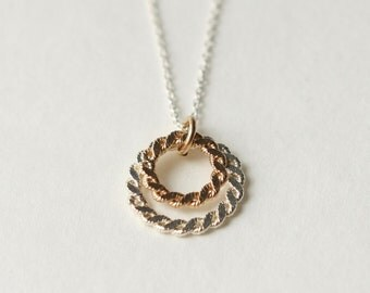 Gold Silver Circle Necklace, Geometric Jewelry, Mixed Metal Jewelry, Minimal Jewellery, Gift for Women, Round Pendant Necklace