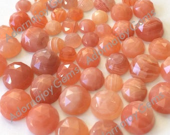 Gemstone Cabochon Agate Apricot 8mm Rose Cut FOR TWO