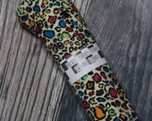 RockerByeBasics Large Newborn baby Swaddle Blanket 36x42 Rainbow Cheetah Leopard