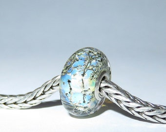 Luccicare Lampwork Bead - Steel -  Lined with Sterling Silver