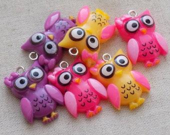 6 Resin Owl Charms Pendants