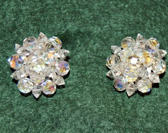 50's,AB Clip Earrings,Signed German,Crystal Cluster,Good condition,measure 1 inch,Vintage Aurora Borealis Glass Beads