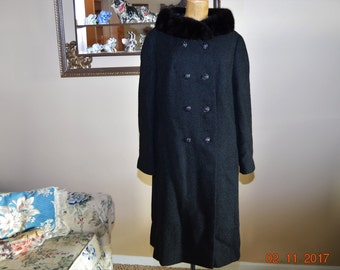 "Black Coat Mink Collar,sz Med,Large Excellent Condition,By SHAGMOOR,full satin Lined,Textured Wool, 40"" Chest,Double-breasted Button Front"