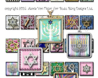 Star Of David, 30mm sq,...collage sheets for pendants,INSTANT Download at Checkout, Hebraic jewelry, Judaic,Jewish jewelry,menorah, Hanukkah