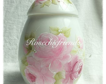 White Egg Candy Jar Chic Shabby Easter/Spring Hand Painted Pink Roses ECS SVFTeam