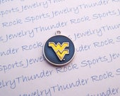 3 WEST VIRGINIA MOUNTAINEERS Charms round Antique Silver Plated with blue and gold enamel University logo College Pendants