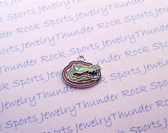 3 FLORIDA GATORS CHARMS Antique Silver Plated with red green blue enamel University logo College Pendants