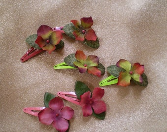 deep pink hydrangea floral clip flower barrettes boho hair flower fastener bridal bohemian wedding Easter Spring Prom Beltane May Day