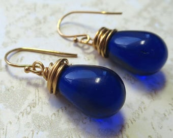 Earrings royal blue  czech glass teardrop beads with gold wire wrapping