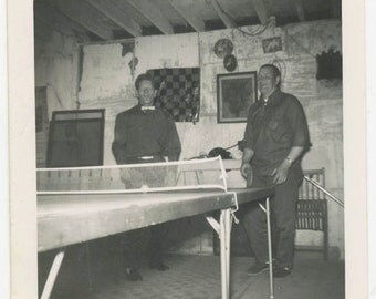 vintage photo 1950 Snapshot Square Men Play Ping Pong in Basement Checker board
