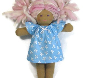 10, 12 in Waldorf doll dress, Blue and White dress with flutter sleeves, doll clothing