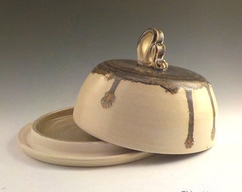 Domed Server - Covered Serving Plate - Cheese Plate - Handmade Ceramic - Ready to Ship - Buffet Server - Oatmeal Beige - Jasper Drips - s495