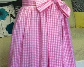 Pink Gingham Ball Gown skirt for wedding or prom