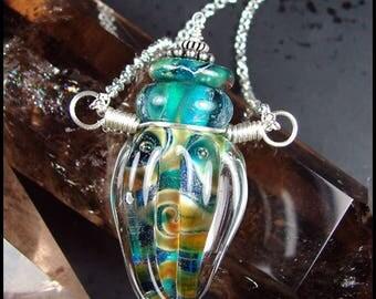 Beadworx - Glass Lampwork Bottle Pendant - Demeter