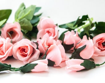 silk flowers - 16 Angela Roses with Buds in Pink PLUS Foliage - read description - ITEM 01025