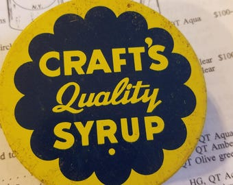vintage advertising crafts quality syrup jar lid metal tin regular mouth mason grocery packer yellow navy screw cap for syrup jar with bail