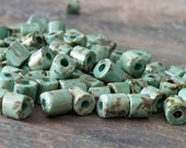 Czech Glass Aged Turquoise Picasso 5mm Tube Bead : 20g Turquoise Tile Bead