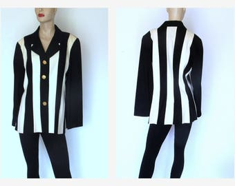 Womens Vintage Black/ White Jacket Sz L Flapper Inspired Rickie Freeman For Teri Jon