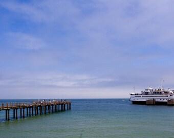Martha's Vineyard Ferry Photo, Oak Bluffs Photo, Oak Bluffs Art, Blue Water and Sky, Pier Photo, Blue Aqua Art, Oak Bluffs Print, Ferry Boat
