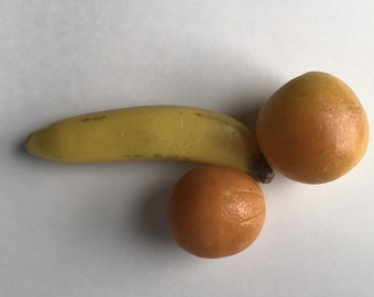 Vintage Wax Fruit, Banana , Orange, Apple, Kitchen Display, Pretend Fruit