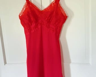 Sexy Red Lace Lingerie Nightie Slip by Seamprufe Size 34 Small Flaws